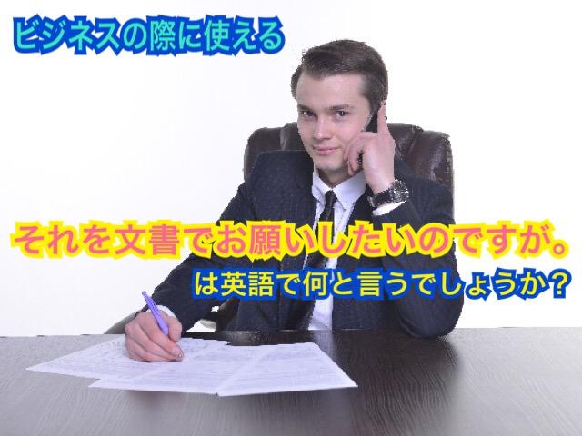 「それを文書でお願いしたいのですが。」は英語で何と言うでしょうか?