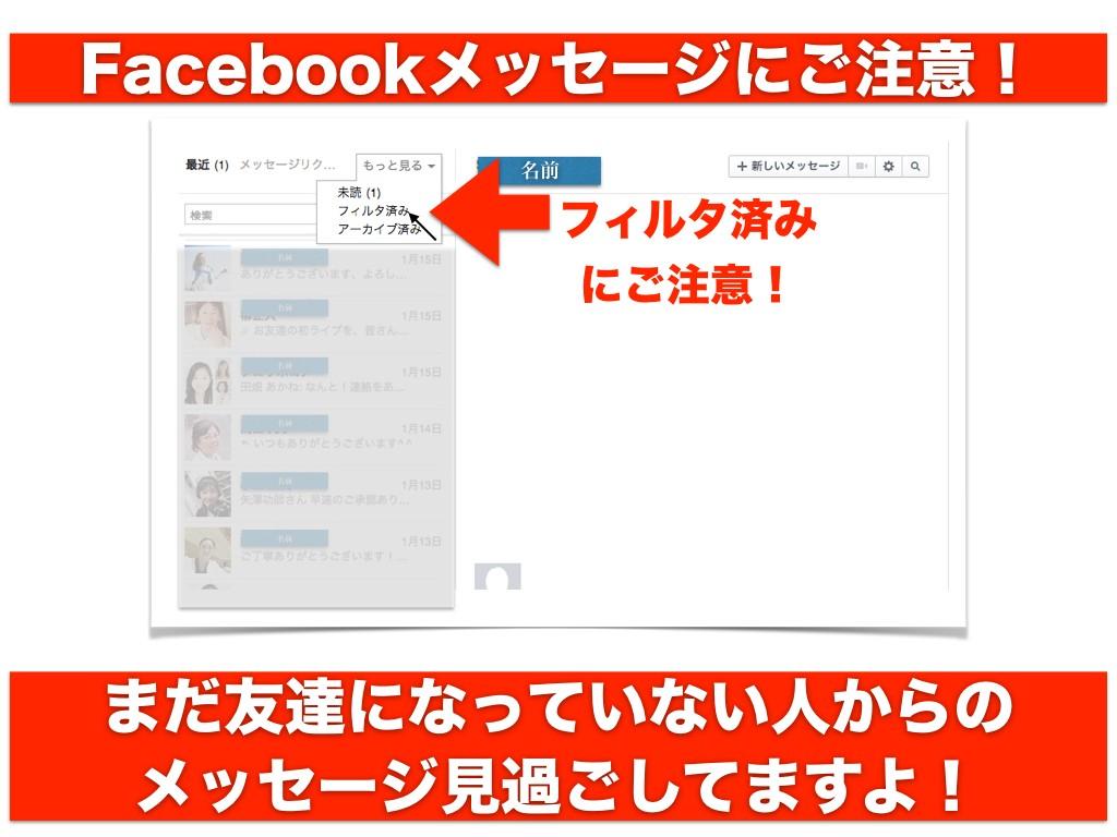 Facebookメッセージにご注意!