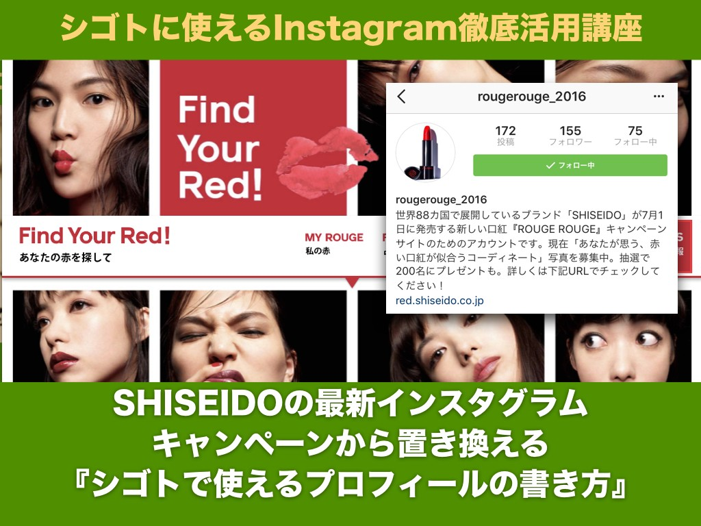 SHISEIDOの 最新インスタグラム キャンペーンから置き換える 『シゴトで使える プロフィールの書き方』