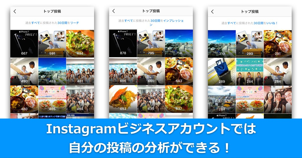 Instagramビジネスアカウントでは自分の投稿の分析ができる!