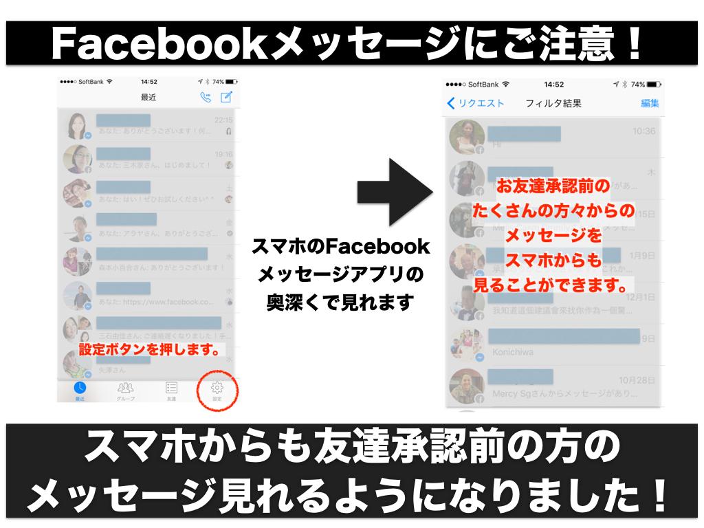 Facebook メッセージ リクエスト